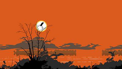 Abstract Florida Everglades Tropical Birds Sunset Landscape - Large Pop Art Nouveau - Panorama - 3 Poster by Walt Curlee