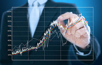 Businessman Writing Graph Of Stock Market  Poster