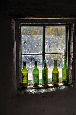 Green Bottles In Window Poster