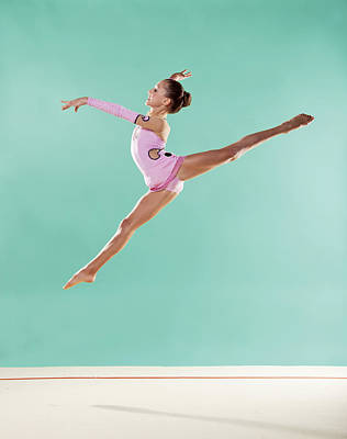 Gymnast,  Mid Air, Split, Pink Leotard Poster by Emma Innocenti