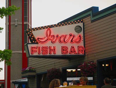 Iconic Ivars Fish Bar Neon Poster by Kym Backland