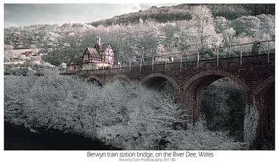 Poster featuring the photograph  Infrared Train Station Bridge by Beverly Cash