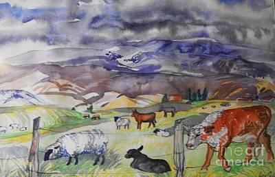 Mixed Farm Animals Graze In Field Poster