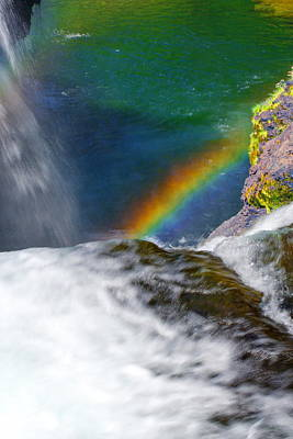 Rainbow By The Waterfall Poster by Ansel Price