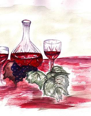 Red Wine Poster by Sharon Mick