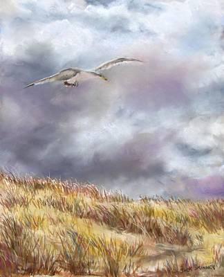 Seagull Flying Over Dunes Poster