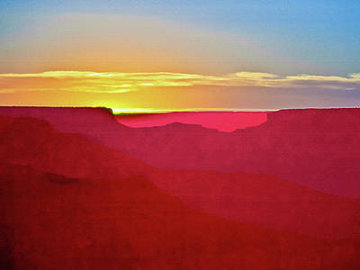 Poster featuring the painting   Sunset At Grand Canyon Desert View by Bob and Nadine Johnston