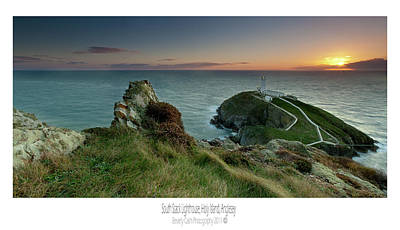Poster featuring the photograph  Sunset At South Stack Lighthouse by Beverly Cash