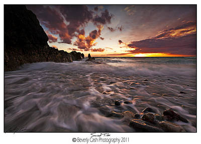 Sunset Tides - Porth Swtan Poster by Beverly Cash