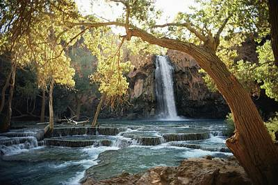 Scenic Waterfall Framed By Trees Poster by We Garrett R