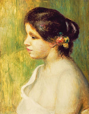 Young Woman With Flowers At Her Ear Poster by Pierre Auguste Renoir