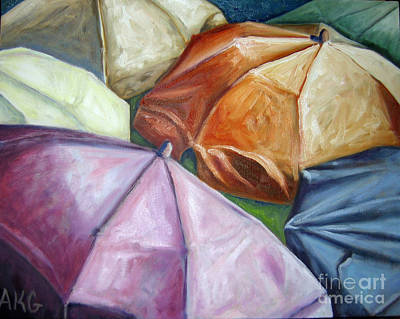 Poster featuring the painting 01132 Beach Umbrellas by AnneKarin Glass