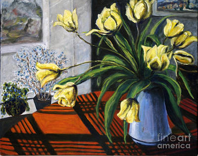 Poster featuring the painting 01218 Yellow Tulips by AnneKarin Glass
