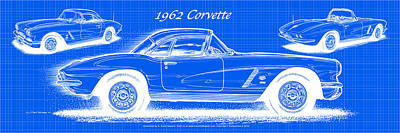1962 Corvette Blueprint Poster