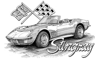 Poster featuring the drawing 1972 Corvette by Rod Seel