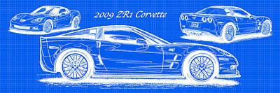 2009 C6 Zr1 Corvette Blueprint Poster by K Scott Teeters