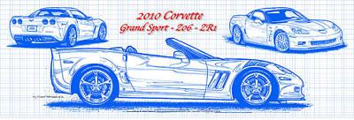 2010 Corvette Grand Sport - Z06 - Zr1 Blueprint Poster by K Scott Teeters