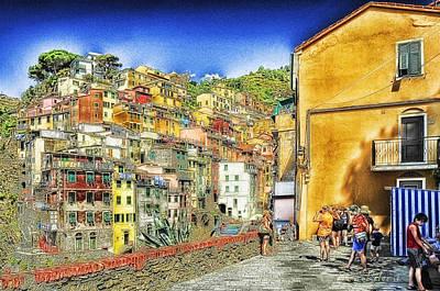 Poster featuring the mixed media 5 Terre Riomaggiore Landscape In Passeggiate A Levante by Enrico Pelos