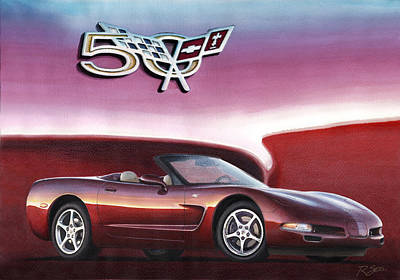 Poster featuring the painting 50th Anniversary Corvette by Rod Seel
