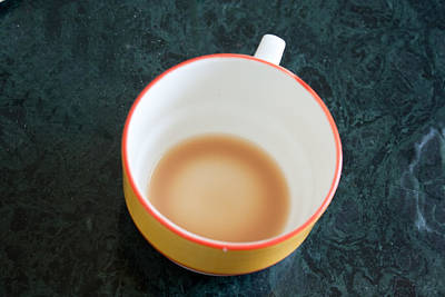 A Cup With The Remains Of Tea On A Green Table Poster by Ashish Agarwal