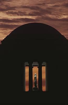 A Fiery Sunset Surrounds The Jefferson Poster by Karen Kasmauski