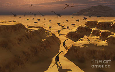 A Mixed Herd Of Dinosaurs Migrate Poster by Mark Stevenson