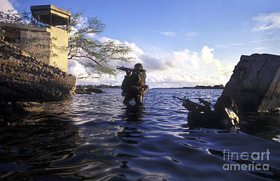 A Pair Of Navy Seal Combat Swimmers Poster by Michael Wood