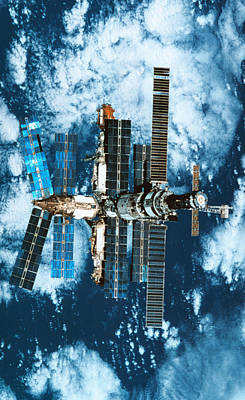 A Space Station Orbiting Above The Earth Poster by Stockbyte