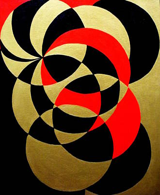 Abstract In Gold Black And Red Poster