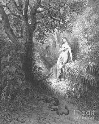 Adam And Eve And Snake By Dore Poster by Photo Researchers
