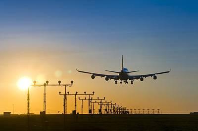 Aeroplane Landing At Sunset, Canada Poster by David Nunuk