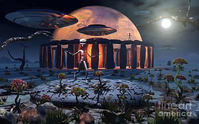 Alien Explorers On An Alien World Poster by Mark Stevenson