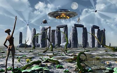 Alien Interdimensional Beings Recharge Poster by Mark Stevenson