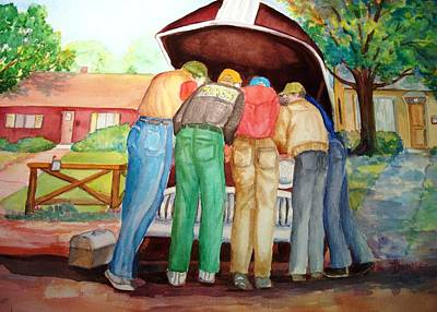 Poster featuring the painting Backyard Mechanics by AnnE Dentler