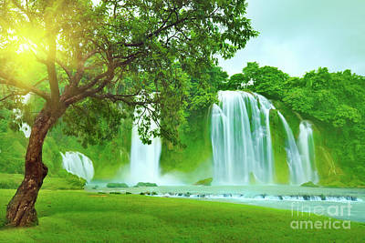 Banyue Waterfall Poster by MotHaiBaPhoto Prints