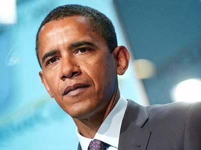 Barack Obama On Stage For Democratic Poster