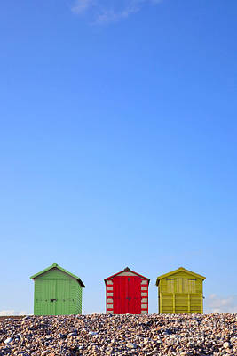 Beach Huts And Blue Sky Poster by Richard Thomas