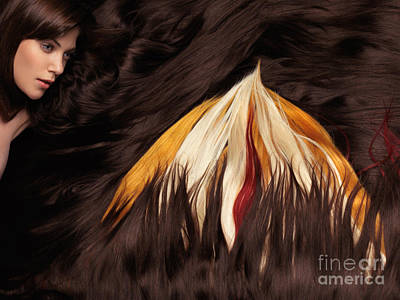 Beautiful Woman With Hair Extensions In A Shape Of Fire Poster by Oleksiy Maksymenko