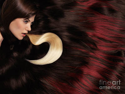 Beautiful Woman With Hair Extensions Poster