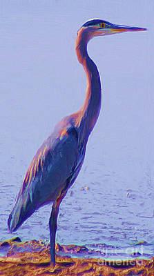 Poster featuring the digital art Big Blue Heron At Lake Side by John  Kolenberg