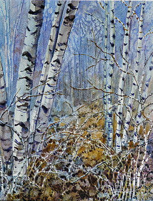 Poster featuring the painting Birches by Louise Peardon