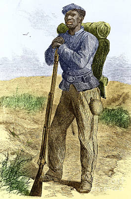 Black Civil War Soldier Poster by Photo Researchers