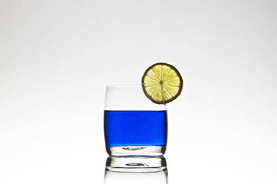 Blue Cocktail With Lemon Poster