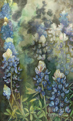 Poster featuring the painting Bluebonnet Blessing by Karen Kennedy Chatham