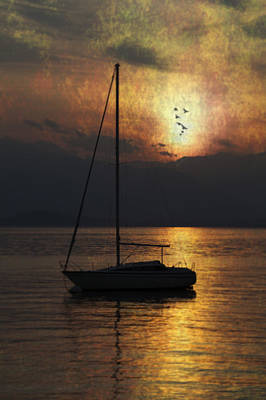 Boat In Sunset Poster