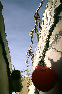 Boat Reflections At Sea Poster by Stelios Kleanthous