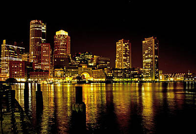 Boston At Night Poster
