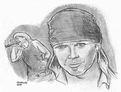 Poster featuring the drawing Bret Michaels by Chris  DelVecchio