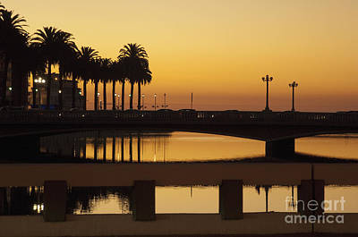 Bridge Over Waterway At Sunset Poster