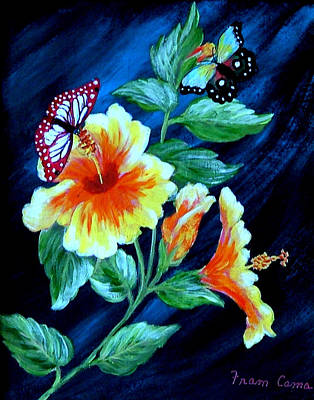 Butterflies And Blooms Poster by Fram Cama
